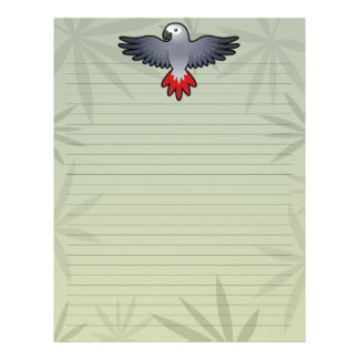 Cartoon African Grey / Amazon / Parrot Letterhead Design
