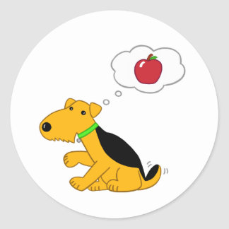 Cartoon Airedale Dog Thinking About an Apple Classic Round Sticker