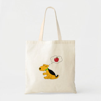 Cartoon Airedale Dog Thinking About an Apple Tote Bag