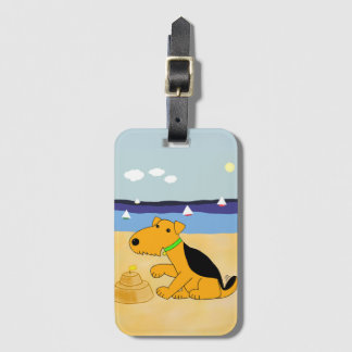 Cartoon Airedale Terrier at the Beach Luggage Tag