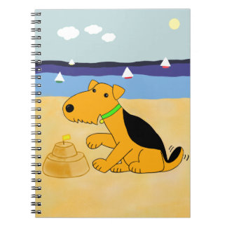 Cartoon Airedale Terrier Dog at the Beach Notebook
