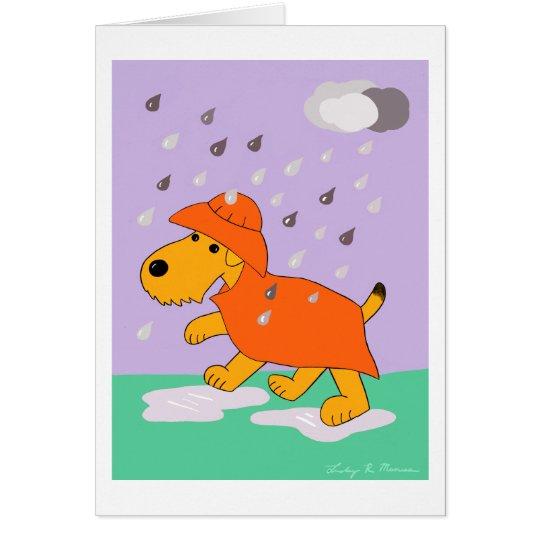 Cartoon Airedale Terrier Dog in Rain Greeting Card