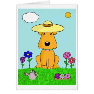 Cartoon Airedale Terrier Dog in the Garden Card