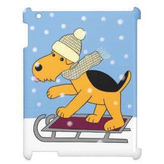 Cartoon Airedale Terrier Dog on Sled iPad Case