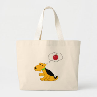 Cartoon Airedale Terrier Dog Thinking of an Apple Large Tote Bag