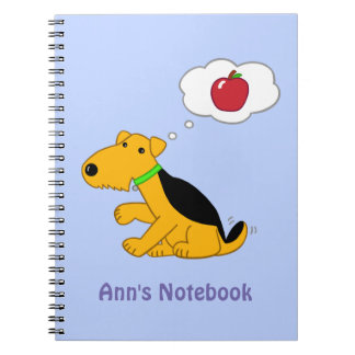 Cartoon Airedale Terrier Dog Thinking of an Apple Notebook