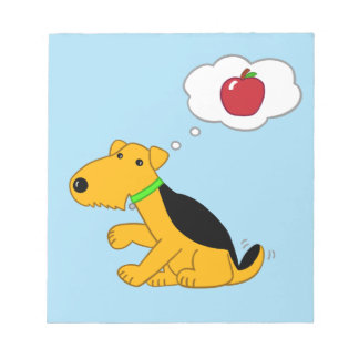 Cartoon Airedale Terrier Dog Thinking of an Apple Notepad