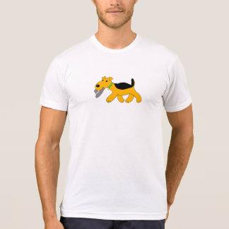 Cartoon Airedale Terrier Dog w Hat Design shirt