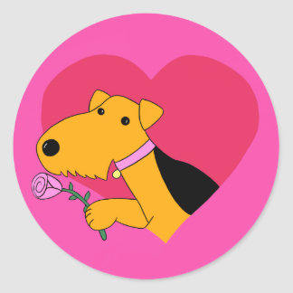 Cartoon Airedale Terrier Dog W Rose Stickers