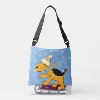 Cartoon Airedale Terrier Dog w Sled Cross Body Bag