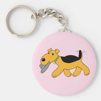 Cartoon Airedale Terrier Dog With Hat Keychain
