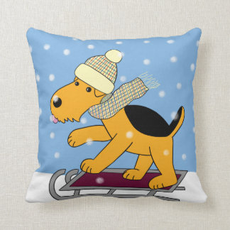Cartoon Airedale Terrier on Sled Pillow