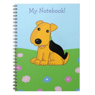 Cartoon Airedale Terrier Puppy Dog Field Notebook