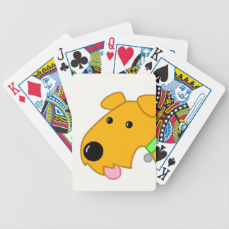 Cartoon Airedale Terrier Puppy Face Bicycle Playing Cards