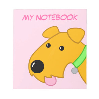 Cartoon Airedale Terrier Puppy Face Notepad