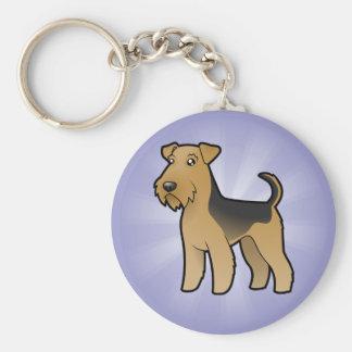 Cartoon Airedale Terrier / Welsh Terrier Basic Round Button Keychain