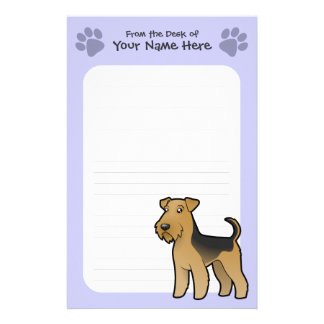 Cartoon Airedale Terrier / Welsh Terrier Personalized Stationery