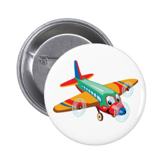 cartoon airplane 2 inch round button