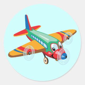 cartoon airplane classic round sticker