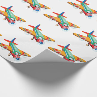 cartoon airplane wrapping paper