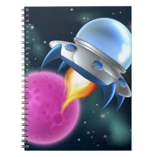 Cartoon Alien Space Ship Flying Saucer Spiral Note Books
