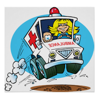 Cartoon Ambulance Poster