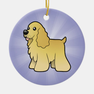 Cartoon American Cocker Spaniel (add your own mess Ceramic Ornament