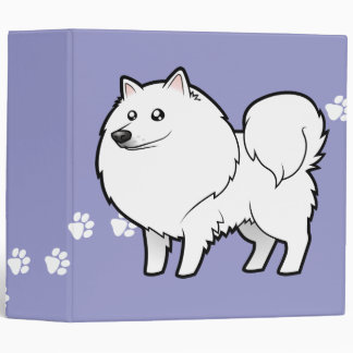 Cartoon American Eskimo Dog / German Spitz 3 Ring Binder