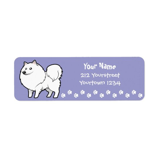 Cartoon American Eskimo Dog / German Spitz Return Address Label