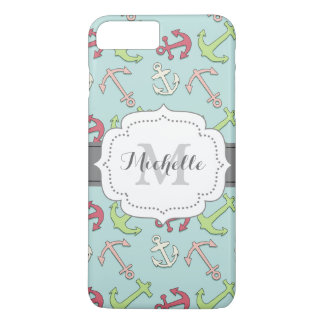 Cartoon Anchors Pattern, Nautical Mint Green iPhone 7 Plus Case