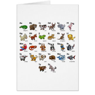 Cartoon Animal Alphabet Chart Set Card