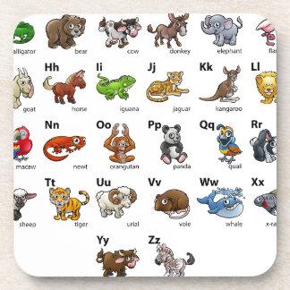 Cartoon Animal Alphabet Chart Set Coaster