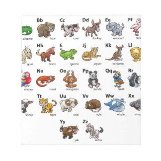 Cartoon Animal Alphabet Chart Set Notepad