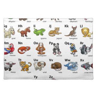 Cartoon Animal Alphabet Chart Set Placemat