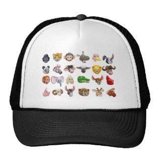Cartoon Animal Faces Icon Set Trucker Hat
