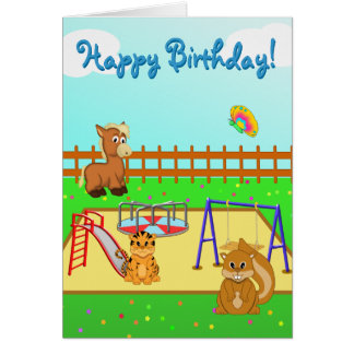 Cartoon Animal Playground Scene Birthday Card