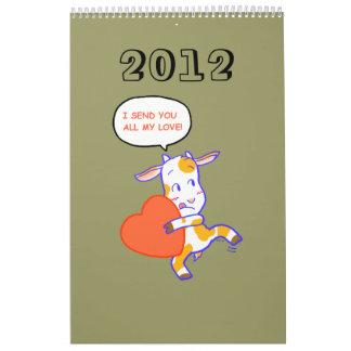 Cartoon animals 2012 wall calendars