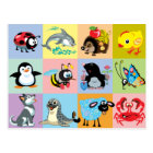 cartoon animals for kids postcard
