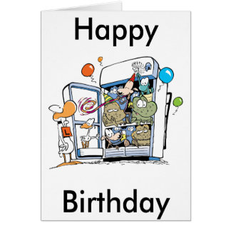 Cartoon Animals Happy Birthday Card