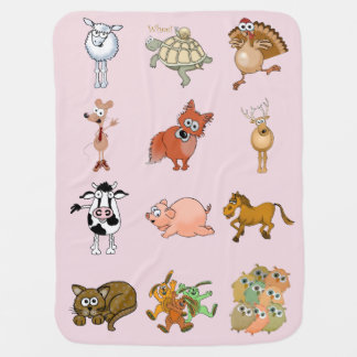 Cartoon animals on a light pink background. baby blanket
