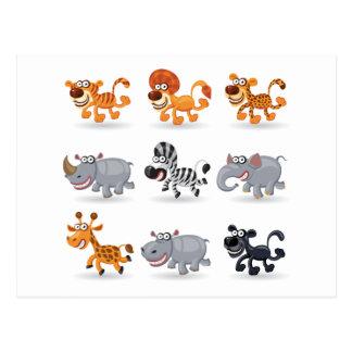 Cartoon animals set 1 post cards