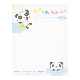 "Cartoon ""Are You Happy"" Panda on Cloud for Kids Letterhead"