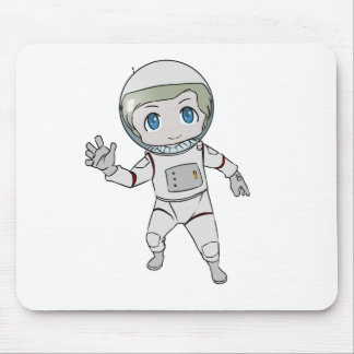 Cartoon Astronaut Waving Mouse Pad