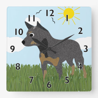 Cartoon Australian Cattle Dog Clock