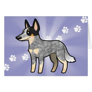 Cartoon Australian Cattle Dog / Kelpie Card