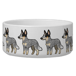 Cartoon Australian Cattle Dog / Kelpie Dog Bowls