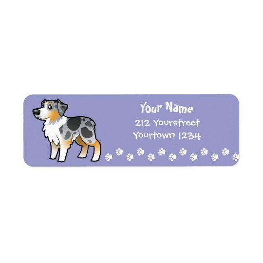 Cartoon Australian Shepherd Return Address Label