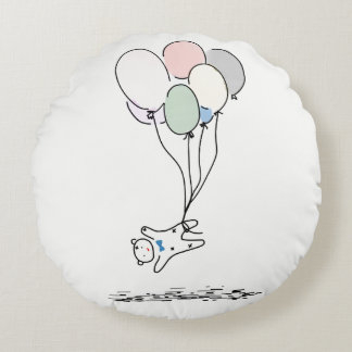 Cartoon Baby Bear Flying With Hot Air Balloons Round Pillow
