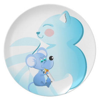 Cartoon Baby cat and foam - punt Party Plates