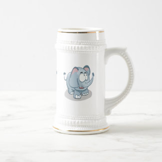 Cartoon baby elephant looking into the sky beer stein
